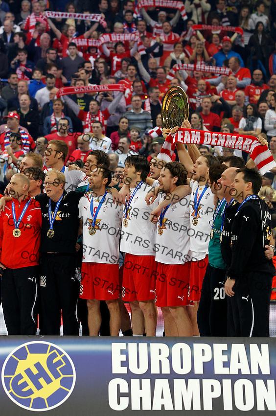 Denmark handball players listens to the national anthem after final men`s EHF EURO 2012 handball championship game against Serbia in Belgrade, Serbia, Sunday, January 29, 2011.  (photo: Pedja Milosavljevic / thepedja@gmail.com / +381641260959)