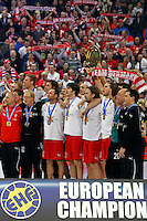 Denmark handball players listens to the national anthem after final men`s EHF EURO 2012 handball championship game against Serbia in Belgrade, Serbia, Sunday, January 29, 2011.  (photo: Pedja Milosavljevic / thepedja@gmail.com / +381641260959)