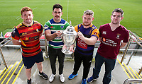 Monday 11th November 2019<br /> <br /> Pictured L-R are Ballyclare RFC Captain Dave Clarke, Grosvenor RFC Captain Andrew Kelly, and Instonians RFC vice-captain David Scott and Enniskillen RFC Captain Gareth Beatty at the draw for the Semi-Final of this seasons MMW Legal Ulster Junior Cup which was held at Kingspan Stadium, Ravenhill Park, Belfast, Northern Ireland. Photo credit - John Dickson DICKSONDIGITAL