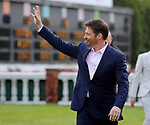 LOUISVILLE, KY - MAY 06: Harry Connick Jr. waves to the crowd before singing the national anthem on Kentucky Derby Day at Churchill Downs on May 6, 2017 in Louisville, Kentucky. (Photo by Candice Chavez/Eclipse Sportswire/Getty Images)
