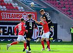 Fussball - 3.Bundesliga - Saison 2020/21<br /> Kaiserslautern -  Fritz-Walter-Stadion 03.04.2021<br /> 1. FC Kaiserslautern (fck)  - FC Halle (hal)<br /> Anas OUAHIN (fck), Anthony SYHRE (hal), Marvin POURIE(1. FC Kaiserslautern), und Janet STERNBERG (hal), v.li.<br /> <br /> Foto © PIX-Sportfotos *** Foto ist honorarpflichtig! *** Auf Anfrage in hoeherer Qualitaet/Aufloesung. Belegexemplar erbeten. Veroeffentlichung ausschliesslich fuer journalistisch-publizistische Zwecke. For editorial use only. DFL regulations prohibit any use of photographs as image sequences and/or quasi-video.