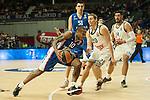 Real Madrid´s Jaycee Carroll and Anadolu Efes´s Dontaye Draper during 2014-15 Euroleague Basketball match between Real Madrid and Anadolu Efes at Palacio de los Deportes stadium in Madrid, Spain. December 18, 2014. (ALTERPHOTOS/Luis Fernandez)