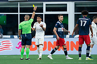 FOXBOROUGH, MA - MAY 1: Jake Mulraney #23of Atlanta United FC reacts to getting a yellow card during a game between Atlanta United FC and New England Revolution at Gillette Stadium on May 1, 2021 in Foxborough, Massachusetts.