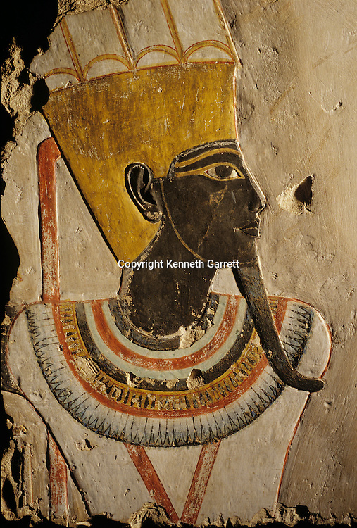 Deir el Bahri; Limestone relief; painted God Amun-Min,Tutankhamun and the Golden Age of the Pharaohs, Page 78