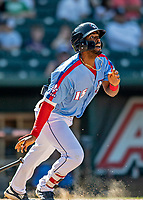 23 June 2019: New Hampshire Fisher Cats outfielder Josh Palacios in action against the Trenton Thunder at Northeast Delta Dental Stadium in Manchester, NH. The Thunder defeated the Fisher Cats 5-2 in Eastern League play. Mandatory Credit: Ed Wolfstein Photo *** RAW (NEF) Image File Available ***