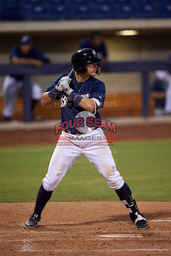 AZL Brewers Blue Anderson Melendez (5) at bat during an Arizona League game against the AZL Rangers on July 11, 2019 at American Family Fields of Phoenix in Phoenix, Arizona. The AZL Rangers defeated the AZL Brewers Blue 5-2. (Zachary Lucy/Four Seam Images)