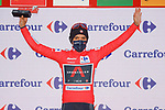 Race leader Richard Carapaz (ECU) Ineos Grenadiers retains the Red Jersey at the end of Stage 7 of the Vuelta Espana 2020 running 159.7km from Vitoria-Gasteiz to Villanueva de Valdegovia, Spain. 27th October 2020.  <br /> Picture: Luis Angel Gomez/PhotoSportGomez | Cyclefile<br /> <br /> All photos usage must carry mandatory copyright credit (© Cyclefile | Luis Angel Gomez/PhotoSportGomez)