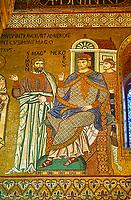 Medieval Byzantine style mosaics of Simon Magnus & Emperor Nero, Palatine Chapel, Cappella Palatina, Palermo, Italy