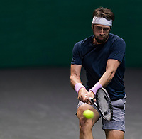 Rotterdam, The Netherlands, 28 Februari 2021, ABNAMRO World Tennis Tournament, Ahoy, First round match: Nikoloz Basilashvili (GEO).<br /> Photo: www.tennisimages.com/henkkoster