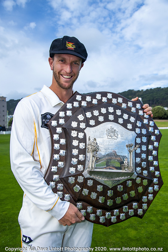 Fraser Colson. The Wellington Firebirds celebrate winning the 2019-2020 Plunket Shield at Basin Reserve in Wellington, New Zealand on Thursday, 19 March 2020. Photo: Dave Lintott / lintottphoto.co.nz