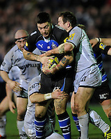 Matt Banahan of Bath Rugby is tackled by James Grindal of Leicester Tigers during the LV= Cup semi final match between Bath Rugby and Leicester Tigers at The Recreation Ground, Bath (Photo by Rob Munro, Fotosports International)