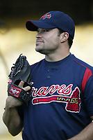Mike Hampton of the Atlanta Braves during a 2003 season MLB game at Dodger Stadium in Los Angeles, California. (Larry Goren/Four Seam Images)