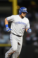Toronto Blue Jays outfielder Melky Cabrera (53) runs the bases after hitting a home run during a game against the Chicago White Sox on August 15, 2014 at U.S. Cellular Field in Chicago, Illinois.  Chicago defeated Toronto 11-5.  (Mike Janes/Four Seam Images)
