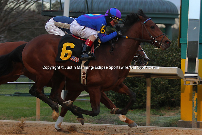 January 18, 2016: #6 Discreetness pulling away from #5 Gordy Florida before crossing the finish line in the Smarty Jones Stakes at Oaklawn Park in Hot Springs, AR. Justin Manning/ESW/CSM