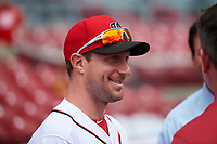 Washington Nationals Max Scherzer during practice before the MLB All-Star Game on July 14, 2015 at Great American Ball Park in Cincinnati, Ohio.  (Mike Janes/Four Seam Images)