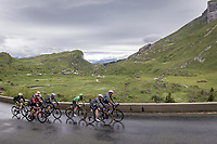 green jersey Mark Cavendish (GBR/Deceuninck-Quick Step) surrounded by teammates up the Cormet de Roselend<br /> <br /> Stage 9 from Cluses to Tignes (144.9km)<br /> 108th Tour de France 2021 (2.UWT)<br /> <br /> ©kramon
