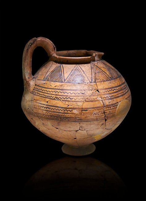 Phrygian terra cotta jug with geometric designs from Gordion. Phrygian Collection, 8th century BC - Museum of Anatolian Civilisations Ankara. Turkey. Against a black background