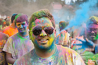 Man Covered with Colored Dye, Holi Festival of Colors, Bellevue, WA, USA.