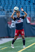 FOXBOROUGH, MA - JULY 25: USL League One (United Soccer League) match. Simon Lekressner #32 of New England Revolution II throw in during a game between Union Omaha and New England Revolution II at Gillette Stadium on July 25, 2020 in Foxborough, Massachusetts.