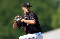 Batavia Muckdogs starting pitcher Chris Vallimont (32) delivers a pitch during a game against the West Virginia Black Bears on July 1, 2018 at Dwyer Stadium in Batavia, New York.  Batavia defeated West Virginia 8-4.  (Mike Janes/Four Seam Images)