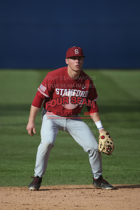 Nico Hoerner #4 of the Stanford Cardinal at shortstop during a game against the Cal State Fullerton Titans at Goodwin Field on February 19, 2017 in Fullerton, California. Stanford defeated Cal State Fullerton, 8-7. (Larry Goren/Four Seam Images)