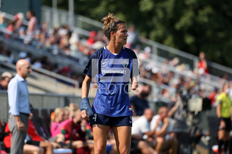 CARY, NC - SEPTEMBER 12: Carson Pickett #4 of the North Carolina Courage during a game between Portland Thorns FC and North Carolina Courage at Sahlen's Stadium at WakeMed Soccer Park on September 12, 2021 in Cary, North Carolina.