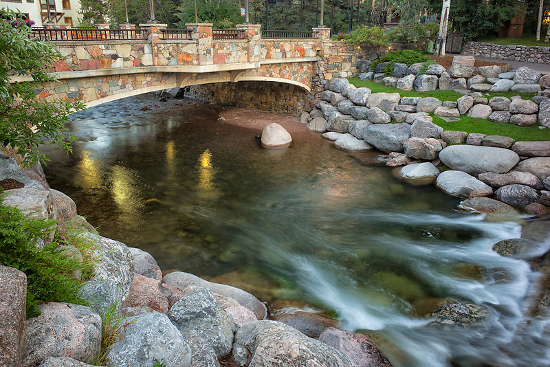 Gore Crek and bridge in Vail Village, Colorado.