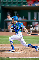 Donovan Casey (43) of the Ogden Raptors bats against the Billings Mustangs at Lindquist Field on August 13, 2017 in Ogden, Utah. The Raptors defeated the Mustangs 6-5.  (Stephen Smith/Four Seam Images)