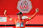 Pascal Ackermann (GER) Bora-Hansgrohe wins Stage 1 and takes the first leaders Red Jersey of the UAE Tour 2020 running 148km from The Pointe to Dubai Silicon Oasis, Dubai. 23rd February 2020.<br /> Picture: LaPresse/Massimo Paolone | Cyclefile<br /> <br /> All photos usage must carry mandatory copyright credit (© Cyclefile | LaPresse/Massimo Paolone)