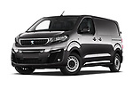 Stock pictures of low aggressive front three quarter view of 2020 Peugeot e-Expert FT-Premium 5 Door Cargo Van Low Aggressive