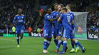 Leicester City's Jamie Vardy celebrates scoring the opening goal with team-mates <br /> <br /> <br /> <br /> Photographer Stephen White/CameraSport<br /> <br /> The Premier League - Leicester City v Watford - Saturday 1st December 2018 - King Power Stadium - Leicester<br /> <br /> World Copyright © 2018 CameraSport. All rights reserved. 43 Linden Ave. Countesthorpe. Leicester. England. LE8 5PG - Tel: +44 (0) 116 277 4147 - admin@camerasport.com - www.camerasport.com
