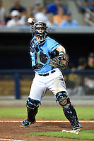 Charlotte Stone Crabs catcher Jake DePew (23) throws to first during a game against the Bradenton Marauders on April 4, 2014 at Charlotte Sports Park in Port Charlotte, Florida.  Bradenton defeated Charlotte 9-1.  (Mike Janes/Four Seam Images)