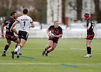 28th March 2021; Rosslyn Park, London, England; Betfred Challenge Cup, Rugby League, London Broncos versus York City Knights;  Sam Davis of London Broncos breaks into open field