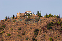 View of hilltop hous from the winery. Clos de l'Obac, Costers del Siurana, Gratallops, Priorato, Catalonia, Spain.