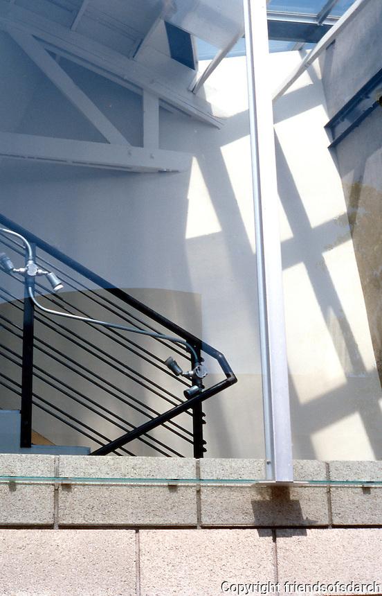 Eric Owen Moss: Gary Group, South Facade--stairway, clerestory. (Sort of deconstructed Bauhaus.) Photo 1999.