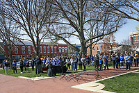 A crowd forms, Friday, April 2, 2021 at the downtown square in Bentonville. The Children's Advocacy Center of Benton County Pinwheels for Prevention kicked off Child Abuse Awareness Month with speakers and an honorary dove release in remembrance of children lost to abuse in the community. Check out nwaonline.com/210403Daily/ for today's photo gallery. <br /> (NWA Democrat-Gazette/Charlie Kaijo)