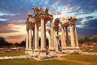 "Picture of the double Tetrapylon Gate, Aphrodisias, Turkey. A tetrapylon (Greek: Τετράπυλον, ""four gates"") is an ancient type of Roman monument of cubic shape, with a gate on each of the four sides: generally it was built on a crossroads. stock photos & photo art prints. 10"