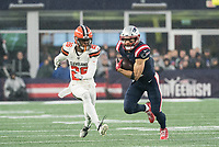 FOXBOROUGH, MA - OCTOBER 27: Cleveland Browns Cornerback Greedy Williams #26 chases New England Patriots Wide Receiver Julian Edelman #11 as he runs after a catch during a game between Cleveland Browns and New Enlgand Patriots at Gillettes on October 27, 2019 in Foxborough, Massachusetts.