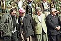 Iraq 2002.In Barzan, on march 14th, the celebration of Mustafa Barzani' s birthday. Near the grave of Mustafa Barzani, Hoshiar Zibari, Sidat Barzani, an Iranian poet and Failak Eddin.Irak 2002.A Barzan,le 14 mars, celebration de l'anniversaire de naissance de Mustafa Barzani; de gauche a droite,Hoshiar Zibari, Sidat Barzani,un poete iranien et Failak Eddin