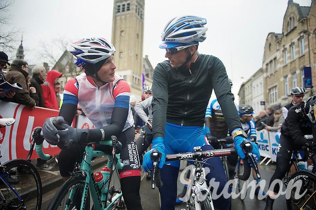 former teammates Johnny Hoogerland (NLD/AndroniGiocattoli-Venezuela) & Bjorn Leukemans (BEL/Wanty-GroupeGobert) catch up at the start line<br /> <br /> Dwars Door Vlaanderen 2014