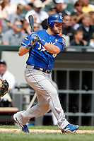 Kansas City Royals third baseman Mike Moustakas #8 at bat during a game against the Chicago White Sox at U.S. Cellular Field on August 14, 2011 in Chicago, Illinois.  Chicago defeated Kansas City 6-2.  (Mike Janes/Four Seam Images)