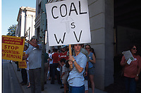 Protesters hold signs to protest mountaintop removal mining.