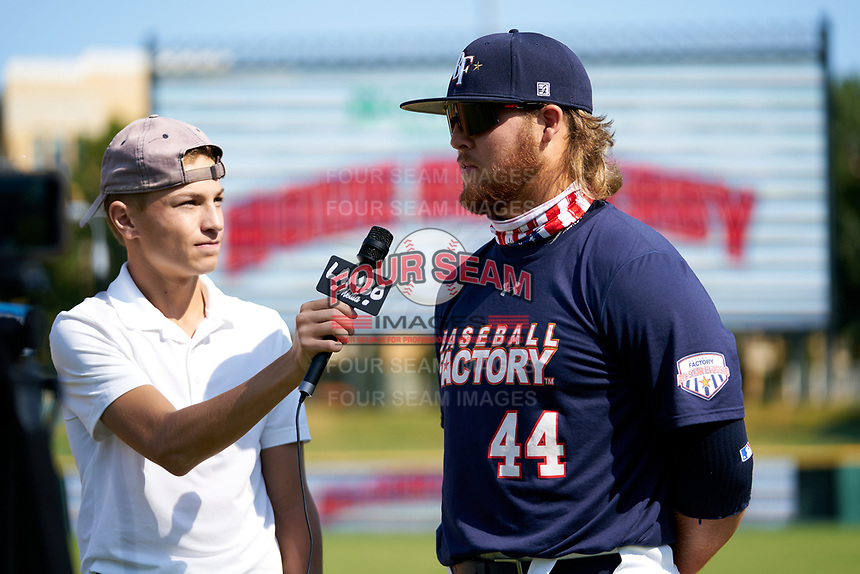 Tommy White (44) does an on field interview after winning the Home Run Derby before the Baseball Factory All-Star Classic at Dr. Pepper Ballpark on October 4, 2020 in Frisco, Texas.  Tommy White (44), a resident of St Pete Beach, Florida, attends IMG Academy.  (Ken Murphy/Four Seam Images)
