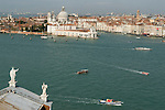 Venice Italy 2009. Canale di San Marco with water transport. Church of Santa Maria della Salute