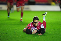 Kieran Hardy of Scarlets scores his sides third try during the European Rugby Challenge Cup Round 4 match between the Scarlets and Bayonne at the Parc Y Scarlets in Llanelli, Wales, UK. Saturday 14 December 2019
