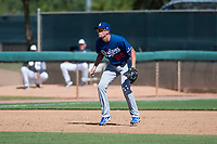 Los Angeles Dodgers third baseman Devin Mann (80) during an Instructional League game against the San Diego Padres at Camelback Ranch on September 25, 2018 in Glendale, Arizona. (Zachary Lucy/Four Seam Images)