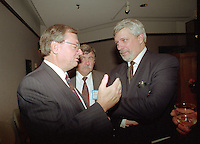 Montreal (qc) CANADA - file Photo - 1992 - <br /> <br /> <br /> 'Union des Municipalites du Quebec convention in April - Gilles Vaillancourt, UMQ Vice-President and Mayor of Laval (L), Pierre-Marc Johnson (R)
