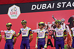 Intermarche-Wanty-Gobert Materiaux at sign on before the start of Stage 6 of the 2021 UAE Tour running 165km from Deira Island to Palm Jumeirah, Dubai, UAE. 26th February 2021.  <br /> Picture: Eoin Clarke   Cyclefile<br /> <br /> All photos usage must carry mandatory copyright credit (© Cyclefile   Eoin Clarke)