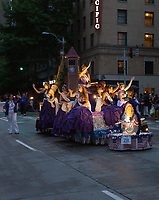 Spokane Lilac Festival Beauty Pagent Float at Night, Seafair Torchlight Parade 2015, Seattle, Washington State, WA, America, USA.