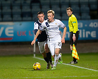 29th December 2020; Dens Park, Dundee, Scotland; Scottish Championship Football, Dundee FC versus Alloa Athletic; Innes Murray of Alloa Athletic and Jordan Marshall of Dundee